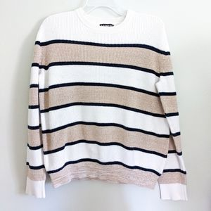 Express Men's Striped Crew Neck Pullover Sweater